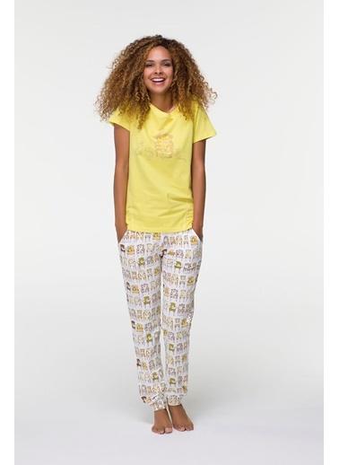 Gicoo Kadın Penye Kısa Kol Alt Uzun Pijama Takımı-Hays